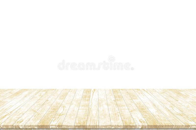 Wood table top isolated on white background. Used for product placement or montage. royalty free stock photos