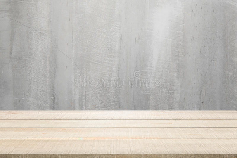 Wood table top panel on concrete background royalty free stock images
