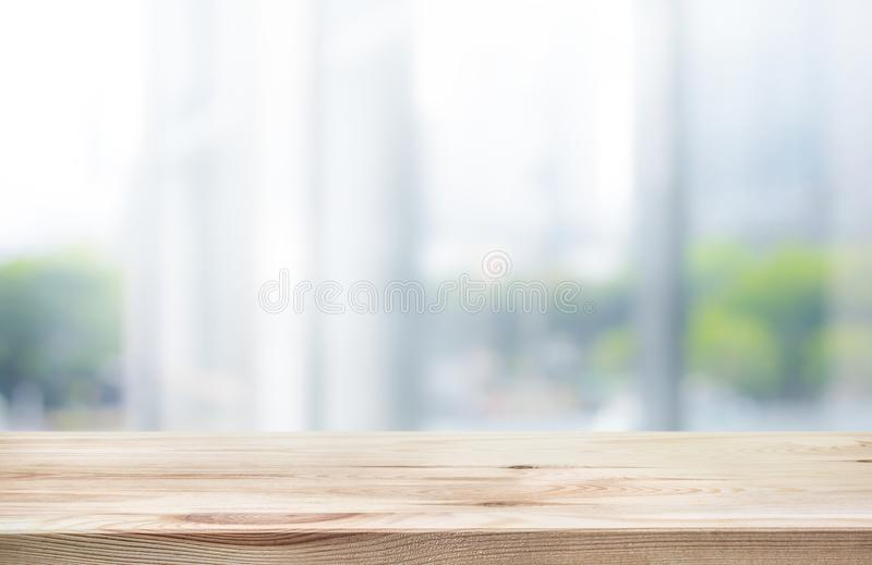 Wood table top on white abstract background form office building. For montage product display or design key visual layout stock images