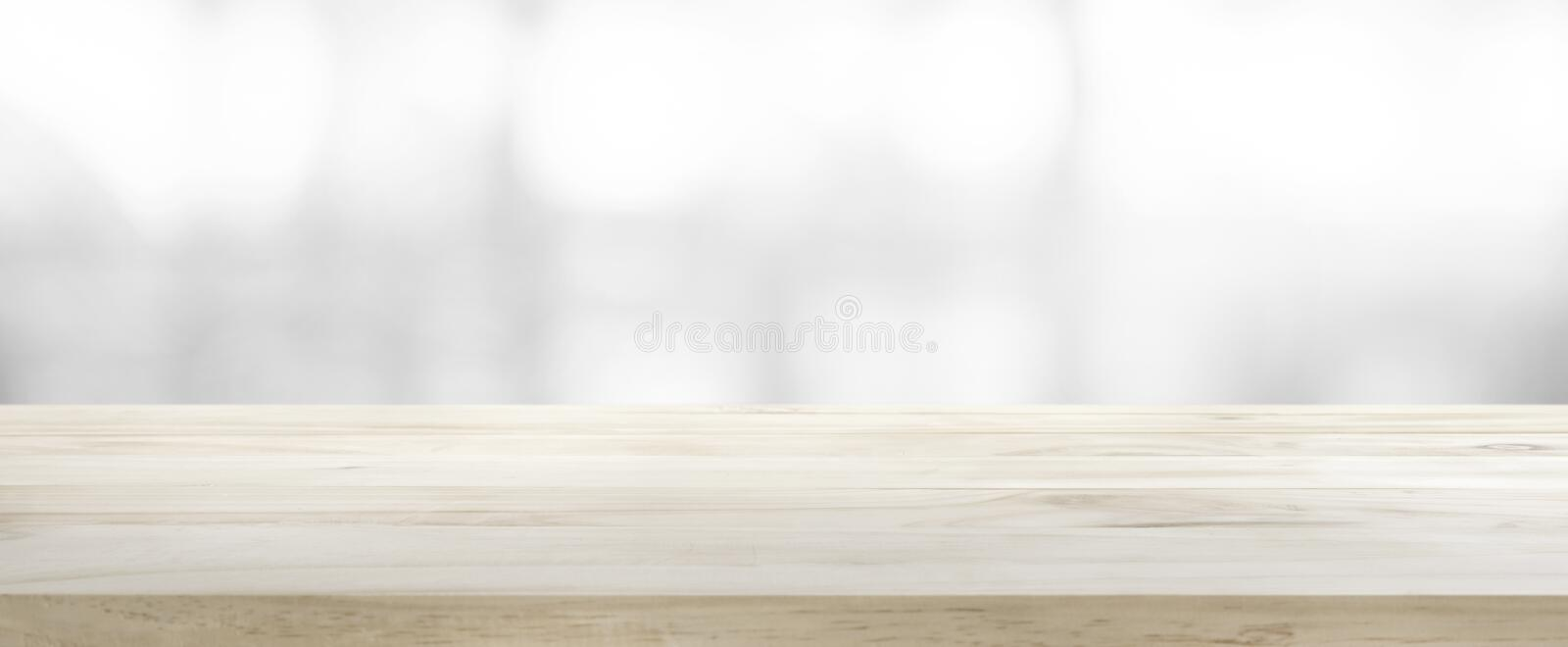 Wood table top on white abstract gray background. For montage product display or design key visual layout stock image