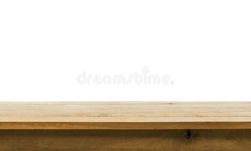 Wood table top on white background.For create product display. Or design key visual layout royalty free stock image