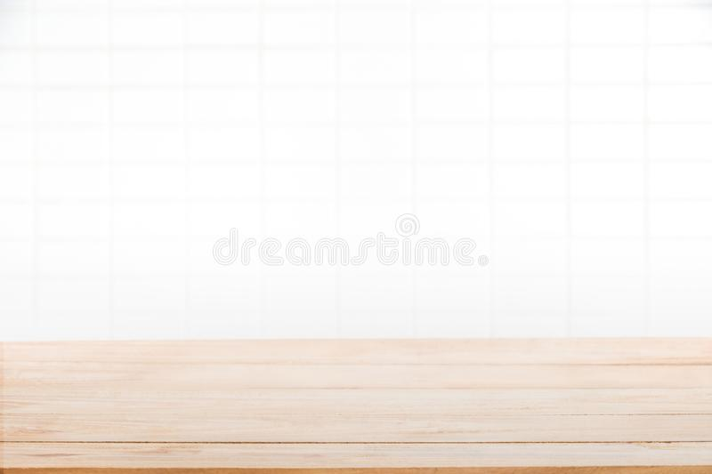 Wood table top on white blurred abstract background from hipster royalty free stock images