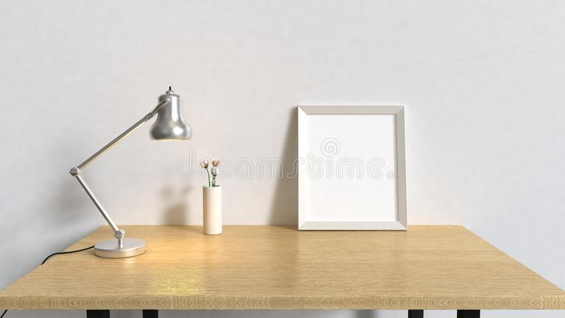 Wood table in white room and blank frame silver lamp 3d render interiors vector illustration