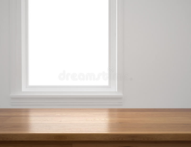 Wood table with window background royalty free stock images