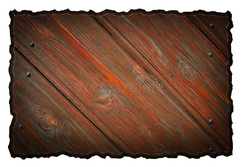 Wood tag. Blank wooden signboard, isolated on white background royalty free stock image