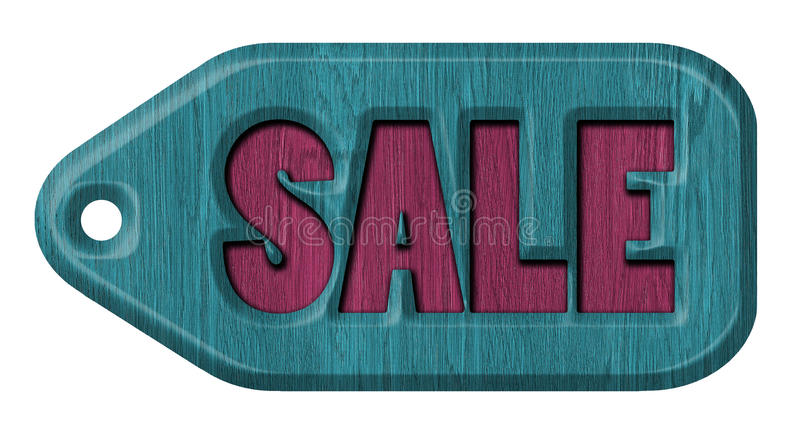 Wood tag. Wooden label, sale, isolated on the white background royalty free illustration