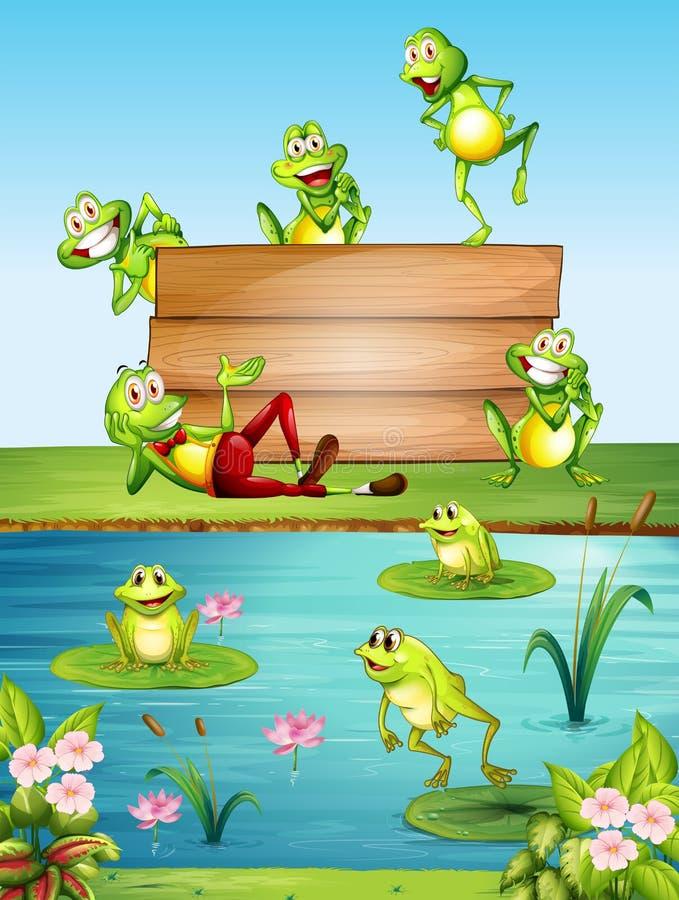 Wood tecken med många grodor vid dammet vektor illustrationer