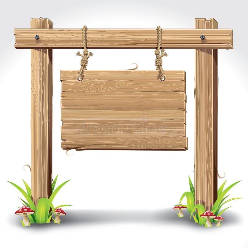 Wood teckenbräde som hänger med repet. royaltyfri illustrationer