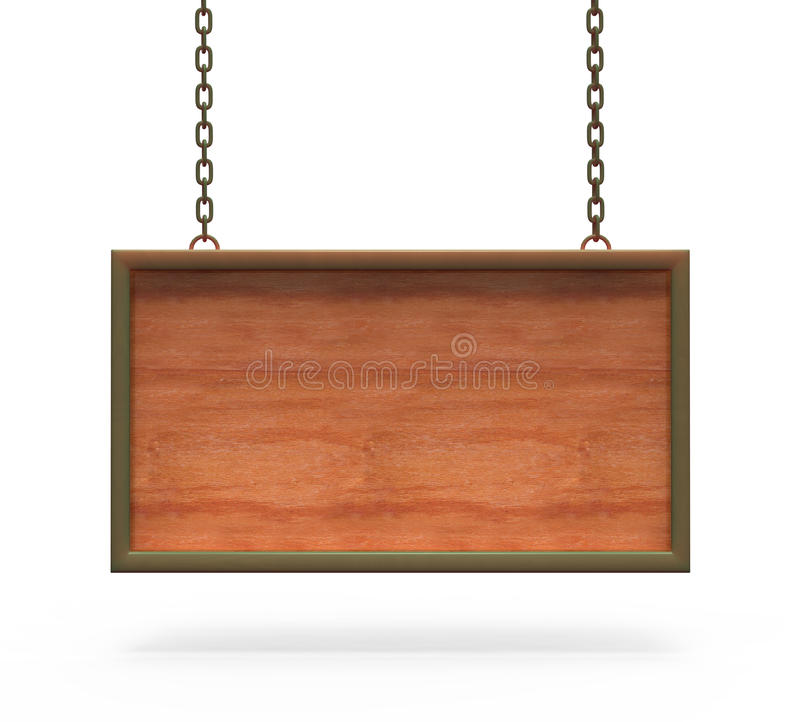 Wood teckenbräde som hänger på kedjorna. stock illustrationer