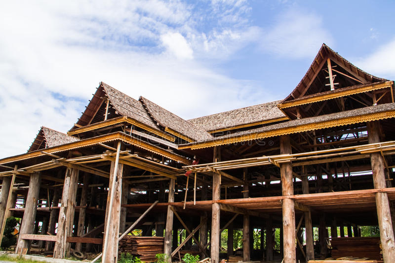 Download Wood temple construction stock photo. Image of design - 26959310