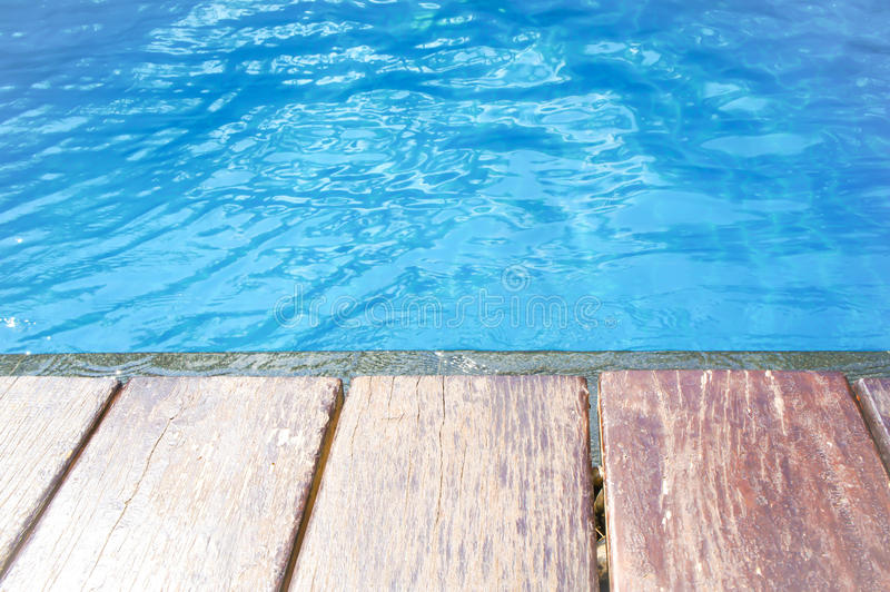 Download Wood Terrace And Swimming Pool Stock Photo   Image Of Wall, Blue:  71058436