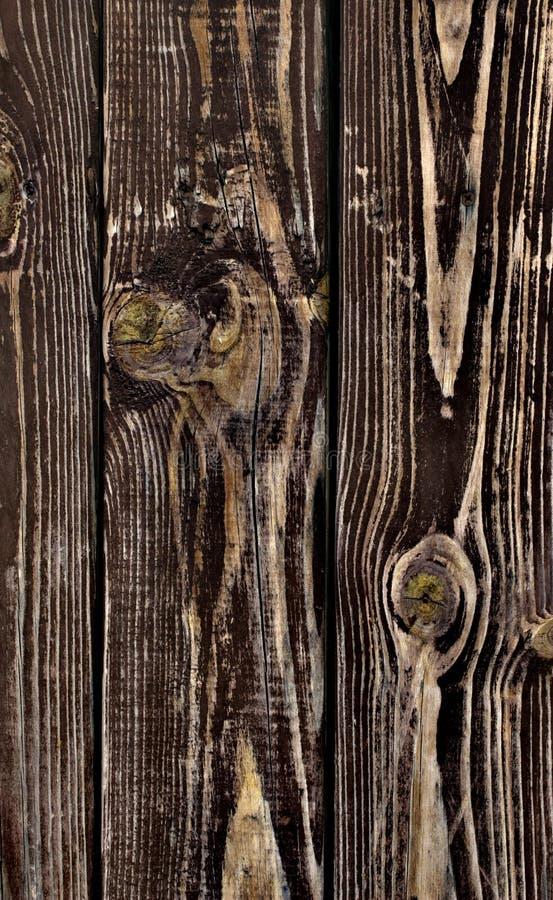 Wood textur, plankabakgrund, gjort randig timmerskrivbordslut upp, gammal tabell, bruntbräden arkivfoto