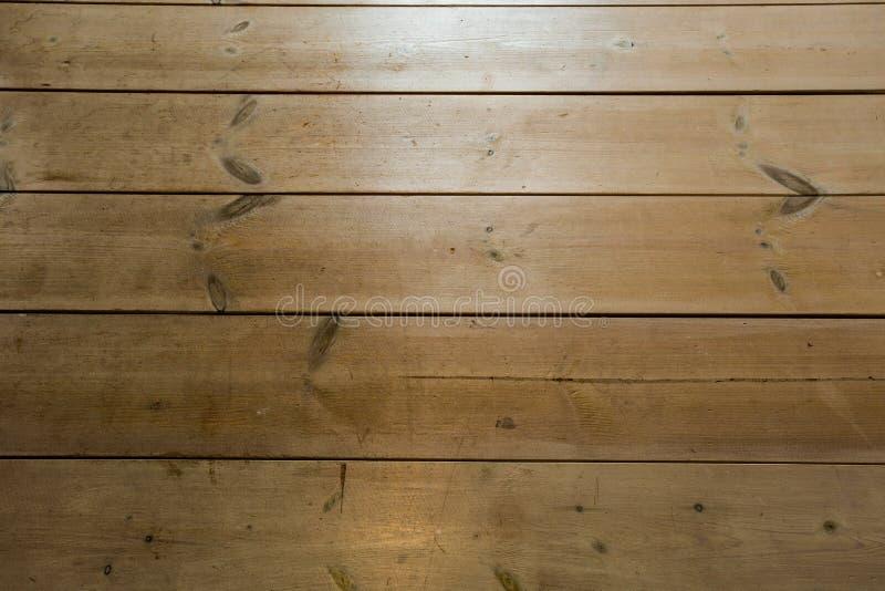 Wood textur, tr?plankakornbakgrund, skrivbord i perspektivslut upp, gjord randig timmer, gammal tabell eller golvbr?de arkivbilder