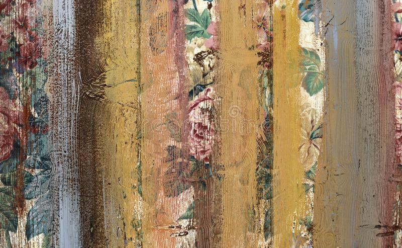 Vintage flowers colorful wood wall texture background royalty free stock photography