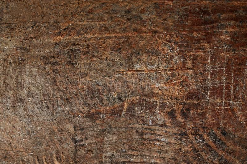 Wood texture, Brown scratched wooden cutting board. Natural Dark royalty free stock photo