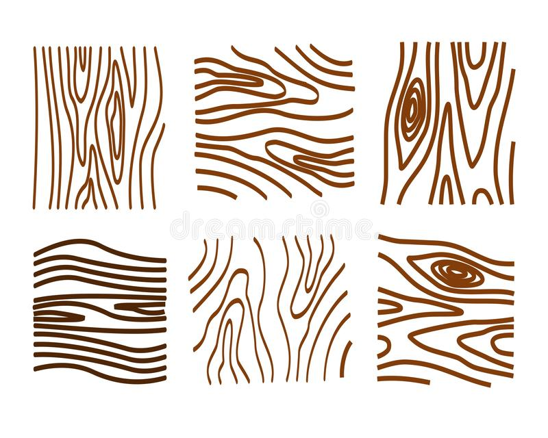 Wood texture elements in black and white. Set of wood texture elements in brown color stock illustration