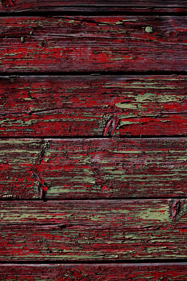 Wood texture. Grunge old wooden red and green painted floor boards background stock image