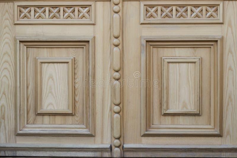 Wood texture with pattern. fragment of wooden door stock photo