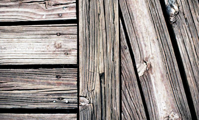 Wood texture and pattern. Old, dry Wood texture and pattern on broadwalk stock photo