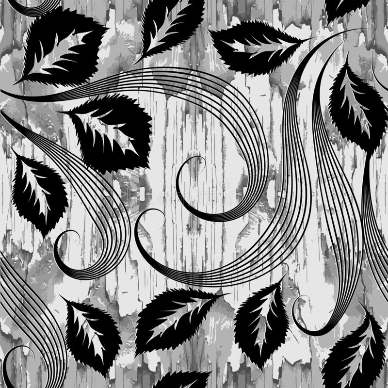 Wood textured black and white floral vector seamless pattern. Leafy wooden grunge background. Monochrome light repeat backdrop. stock illustration