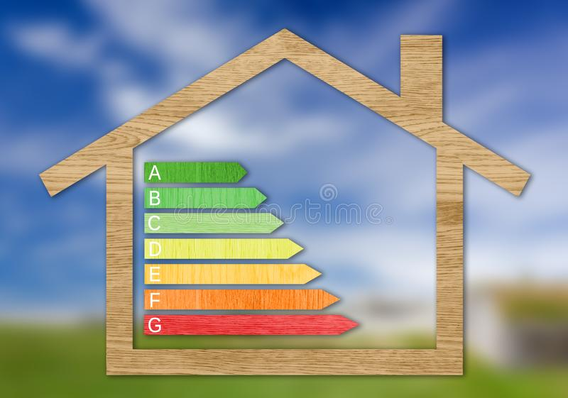 Wood Textured Energy Efficiency Certification Symbols. Inside a house shape against a nature blurred background royalty free stock images