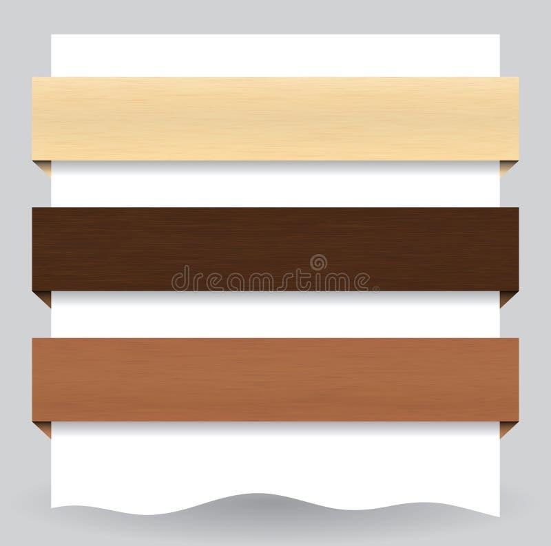 Wood textured website banner stock illustration