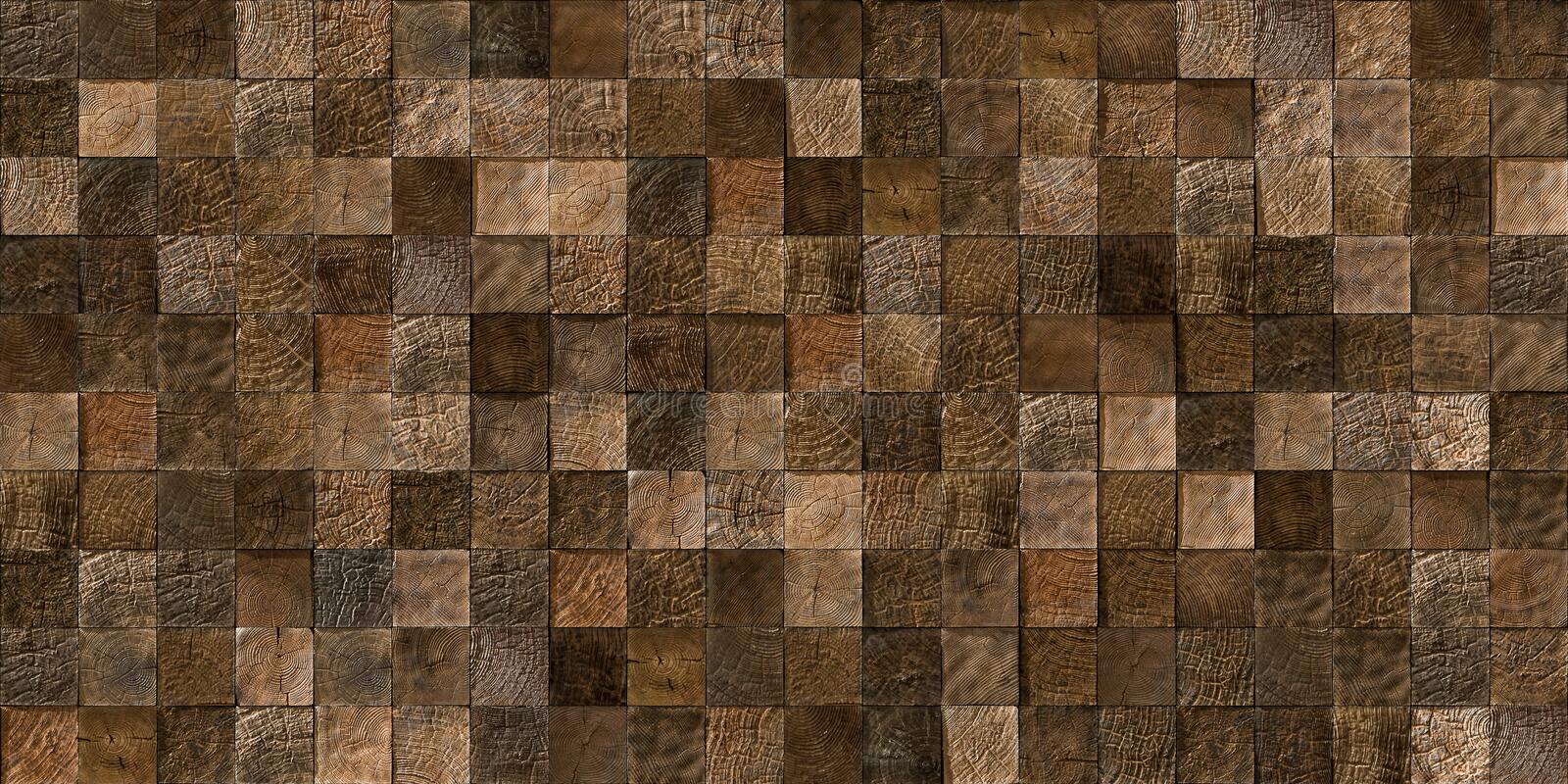 Wood tiles seamless texture. A seamless texture of log ends tiles, showing the natural grain of the wood. The decorative panel made from a natural material used