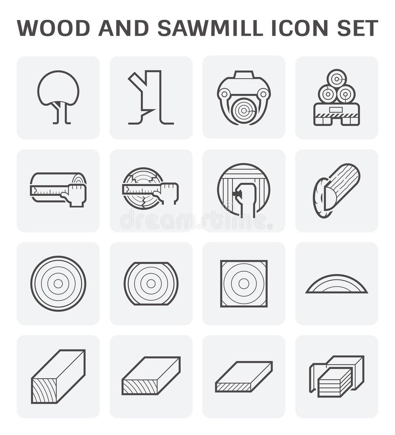 Wood sawmill icon. Wood timber and wood floor and wood testing icon set design stock illustration