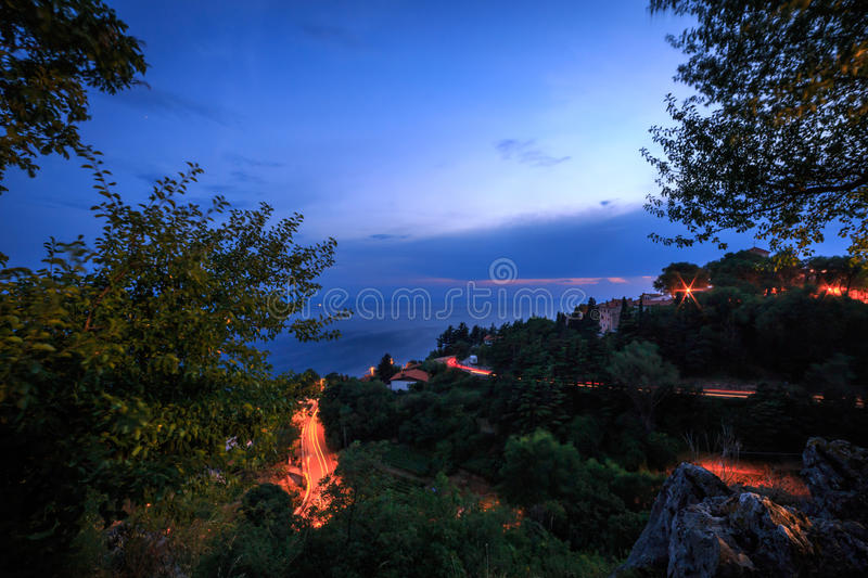 From the wood to the sea of Trieste. The view of the sea from the hill around Trieste stock images