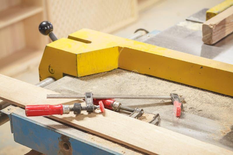 Wood tools workshop stock image