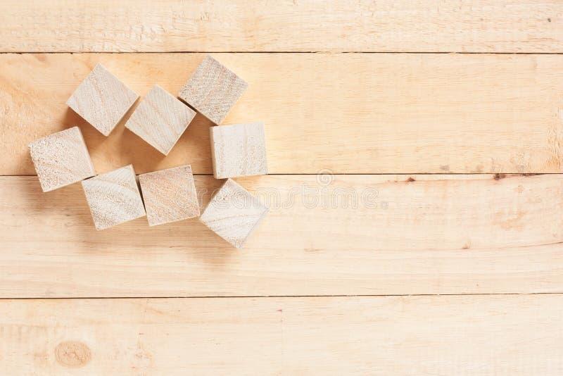 Wood Toy Blocks On Wooden Table arkivfoto