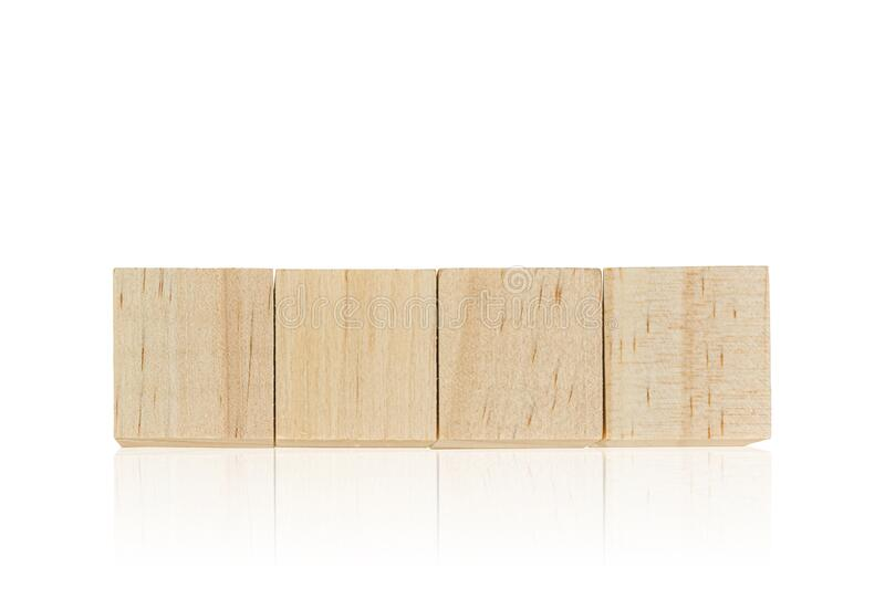 Wood toy cubes isolated on white. Background royalty free stock photography