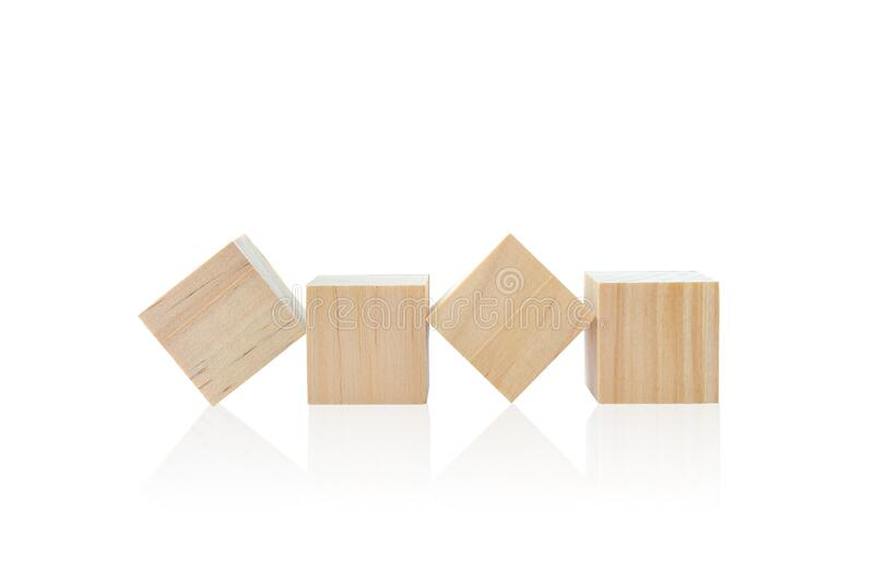 Wood toy cubes isolated on white. Background stock images