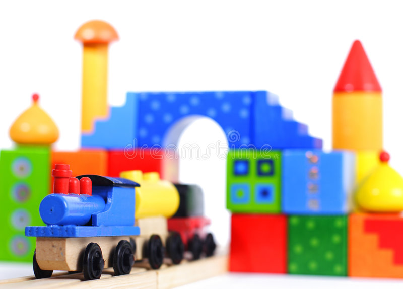 Wood Toy Train And Blocks Stock Photo