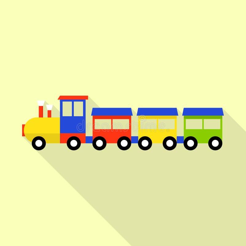 Wood toy train icon, flat style vector illustration