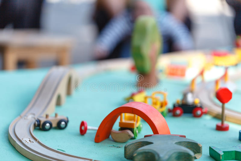 Wood toy train set on table & Wood toy train set stock image. Image of commute object - 99198683