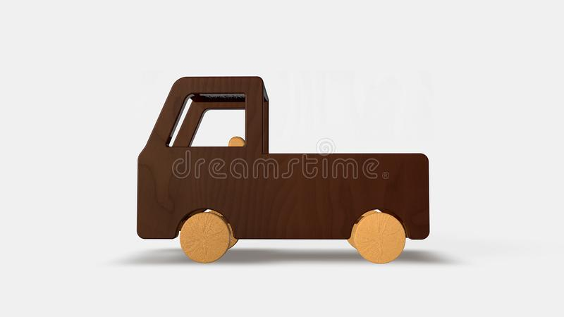 Wood toy truck stock illustration