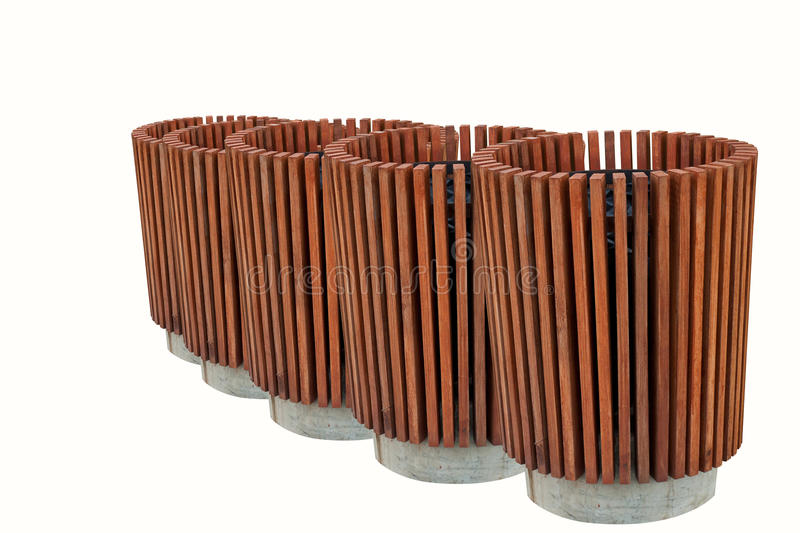 Wood Trash Bin Isolated On White royalty free stock photography