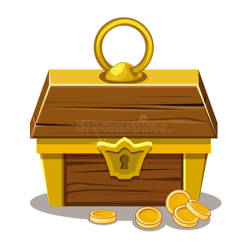 Wood Treasure chest and coin royalty free illustration