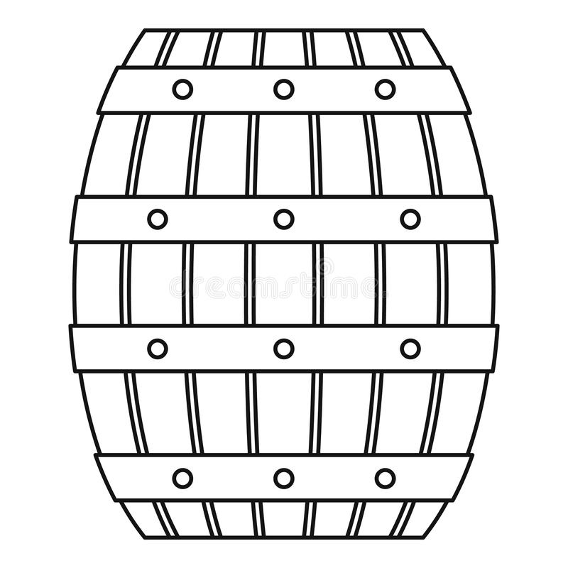 Wood trummasymbol för öl, översiktsstil vektor illustrationer