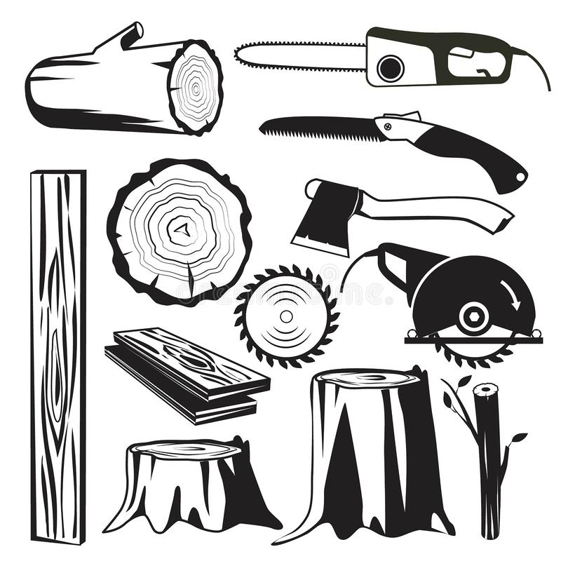 Wood trunks black. Wooden industry forestry tree elements vector monochrome pictures royalty free illustration
