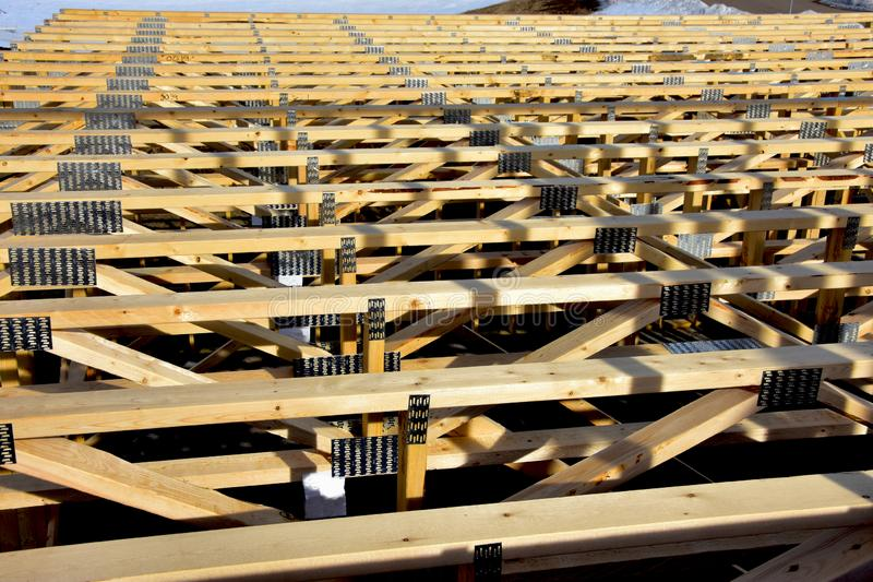 Wood trusses for base of second story. royalty free stock photos