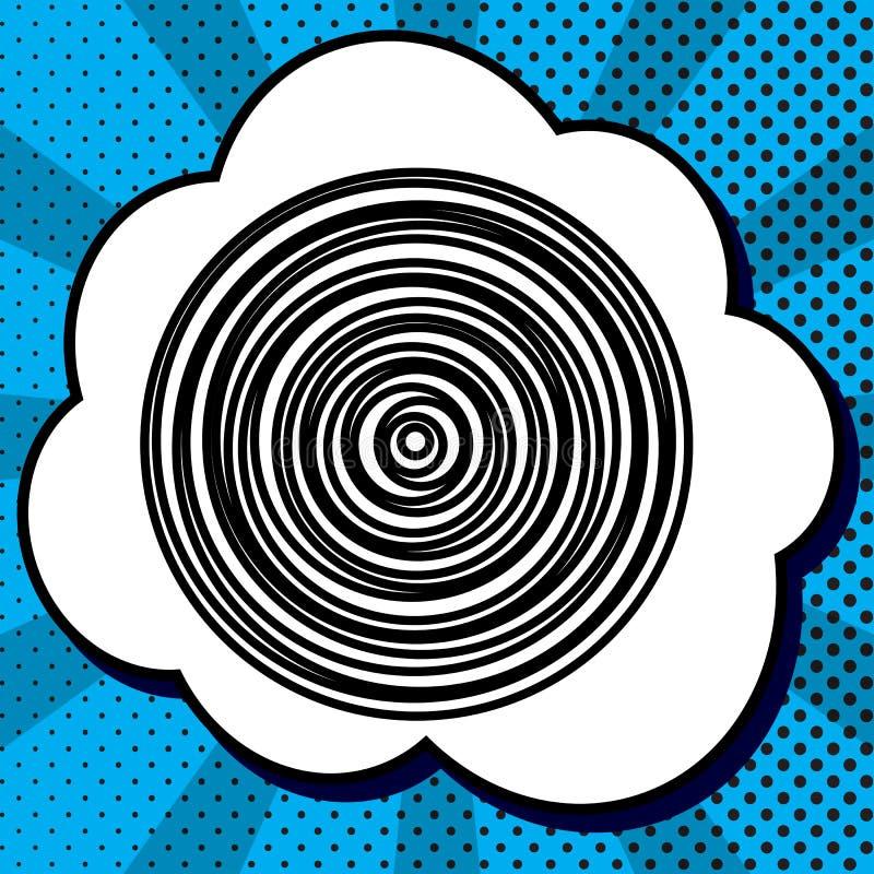 Wood tvärsnitt vektor Svart symbol i bubbla på blå pop-konst stock illustrationer