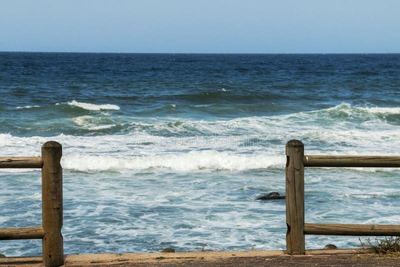 Wood vågor för Pole barriärhav och blå horisontbakgrund royaltyfria bilder