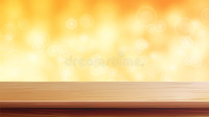 Wood vektor för tabellöverkant Apelsin höst, gul Bokeh bakgrund Det tomma trädäcket bordlägger Abstrakta ljus på guld- Bokeh stock illustrationer