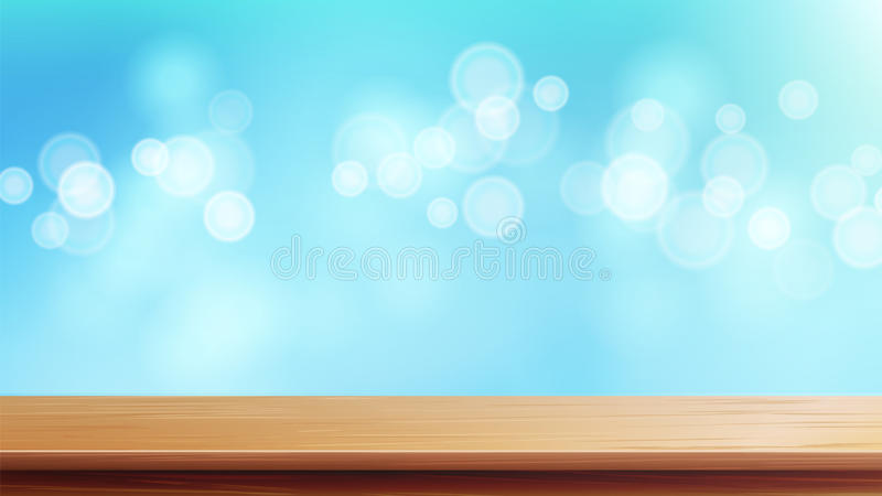 Wood vektor för tabellöverkant Brun Bokeh abstrakt naturlig bakgrund Slut upp den bästa trätabellen Garnering av skrivbordet och  royaltyfri illustrationer