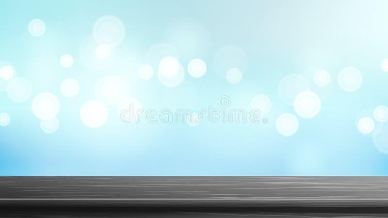 Wood vektor för tabellöverkant enkel att använda blå bokeh för bakgrund Tom slät trädäcktabell Abstrakta ljus på suddiga guld- Bo stock illustrationer