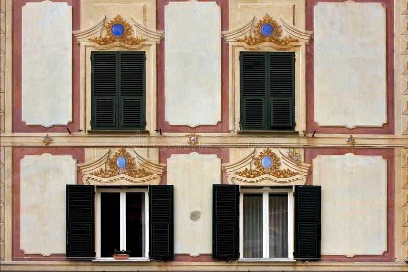 Wood venetian blind in portofino royalty free stock images