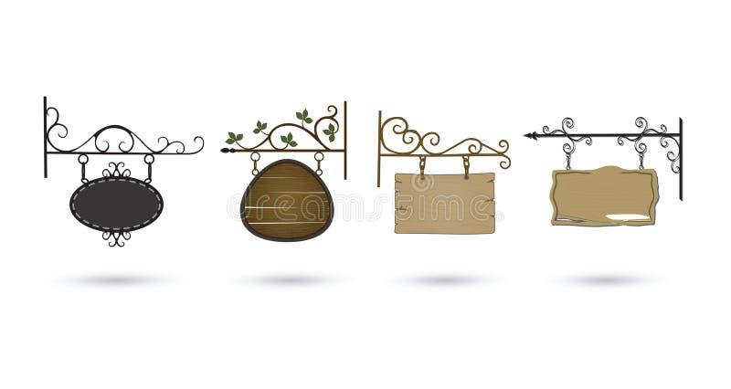 Wood vintage signs set vector illustration