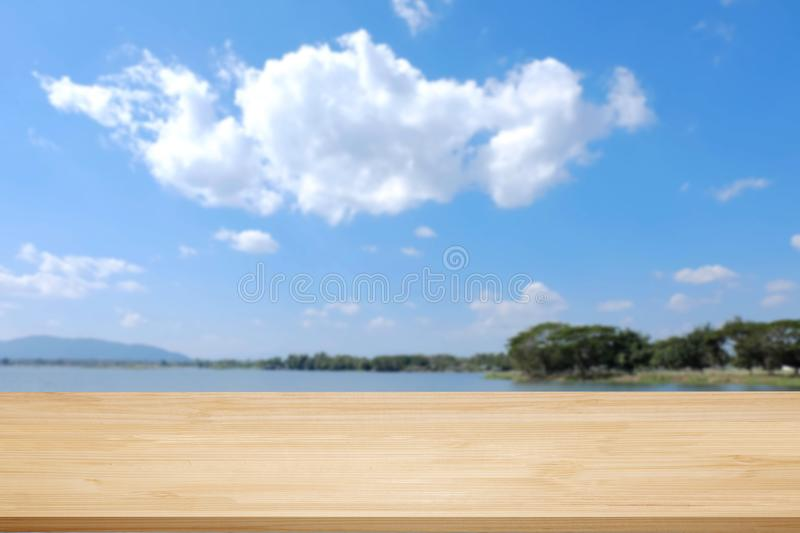Wood walk or terrace over sea with cloud. Background stock photos